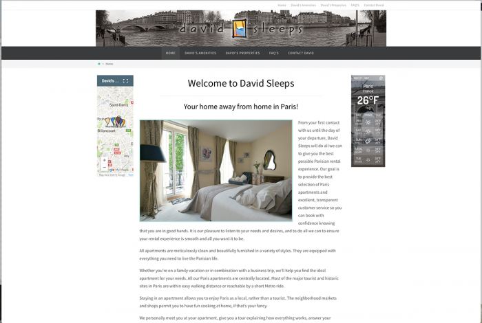 Welcome to David Sleeps Your home away from home in Paris! website